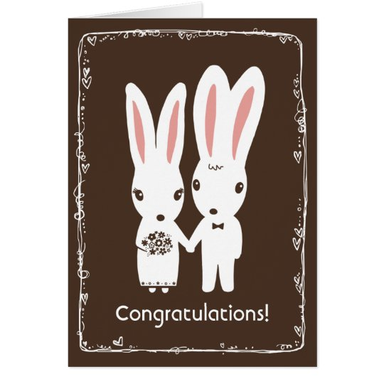 Bunny Rabbits Wedding Congratulations Card