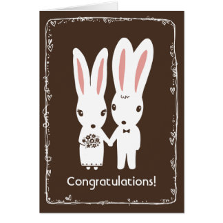 Bunny Rabbits Wedding Congratulations Greeting Card