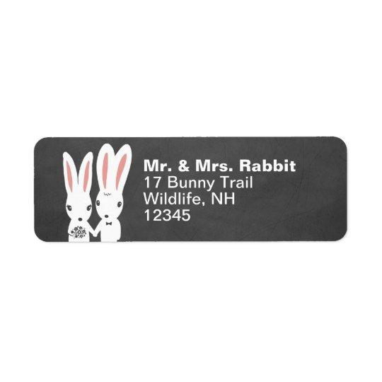Bunny Rabbits Wedding Couple Return Address Label