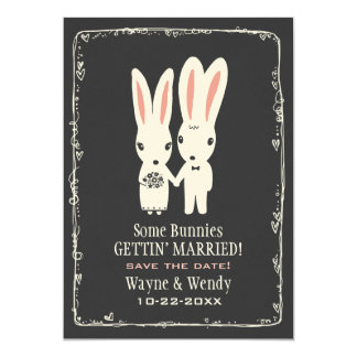 Bunny Rabbits Wedding Save the Date Grey 13 Cm X 18 Cm Invitation Card