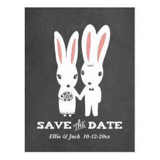 Bunny Rabbits Wedding Save the Date Postcard