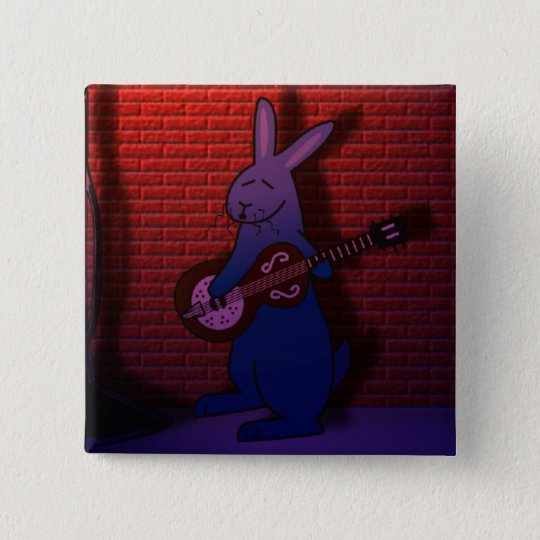 BUNNY SINGS THE BLUES 15 CM SQUARE BADGE
