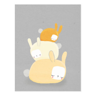 bunny stack in orange and gray post cards