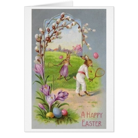 Bunny Tennis Easter Greeting! Vintage Easter Card
