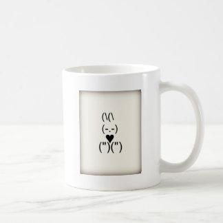 Bunny text and keyboard heart basic white mug
