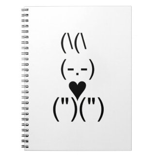 Bunny text and keyboard heart notebooks