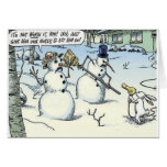 Bunny Threatens Snowman for Nose Greeting Card