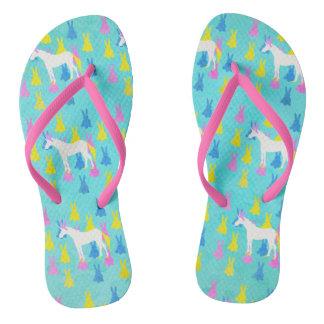 Bunny Unicorn Flip Flops