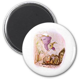 Bunny versus Cat Artwork 6 Cm Round Magnet