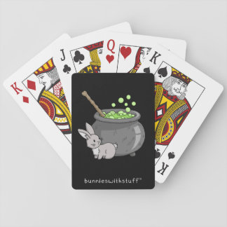 Bunny with a bubbling cauldron playing cards