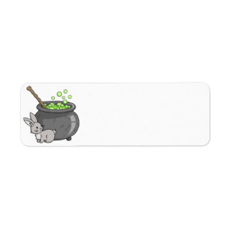 Bunny with a bubbling cauldron return address label