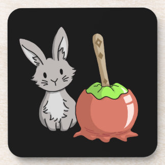 Bunny with a candy apple beverage coasters