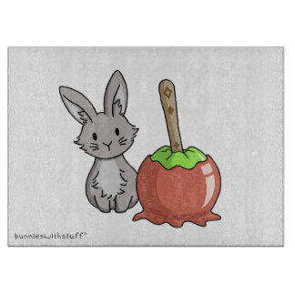 Bunny with a candy apple cutting board