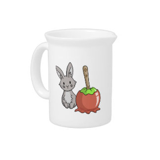 Bunny with a candy apple drink pitchers