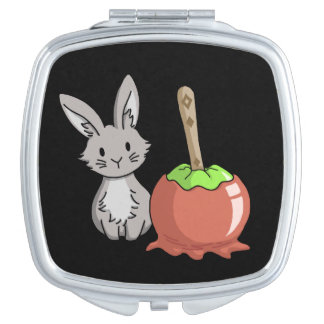 Bunny with a candy apple mirror for makeup