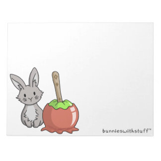Bunny with a candy apple notepad