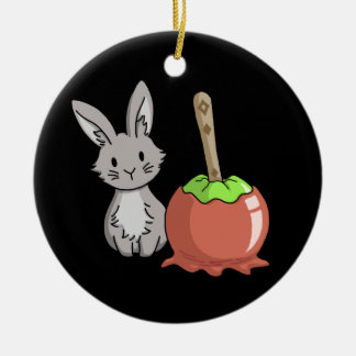 Bunny with a candy apple round ceramic decoration