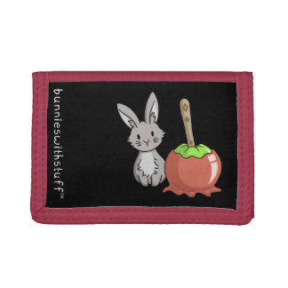 Bunny with a candy apple trifold wallet