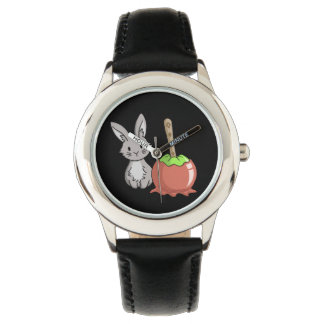Bunny with a candy apple watches