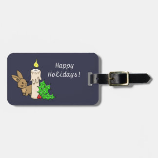 Bunny with a Christmas Candle Luggage Tag