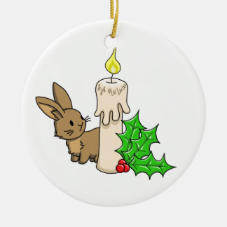 Bunny with a Christmas Candle Round Ceramic Decoration