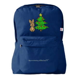 Bunny with a Christmas Tree Backpack