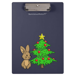 Bunny with a Christmas Tree Clipboard