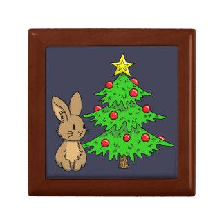 Bunny with a Christmas Tree Gift Box