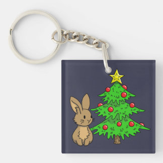 Bunny with a Christmas Tree Key Ring