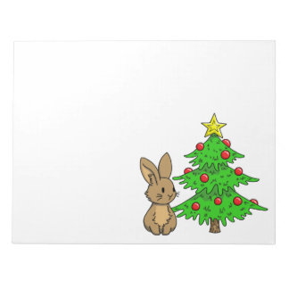 Bunny with a Christmas Tree Notepad