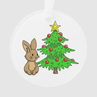 Bunny with a Christmas Tree Ornament
