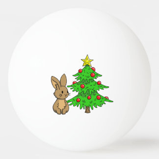 Bunny with a Christmas Tree Ping Pong Ball