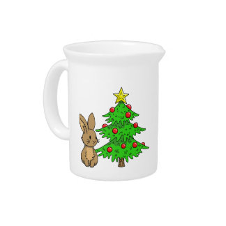 Bunny with a Christmas Tree Pitcher