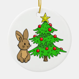 Bunny with a Christmas Tree Round Ceramic Decoration