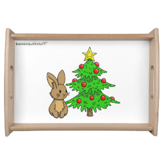 Bunny with a Christmas Tree Serving Tray