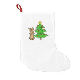 Bunny with a Christmas Tree Small Christmas Stocking