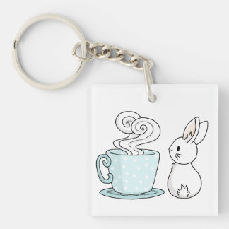 Bunny with a Cup of Tea Key Ring