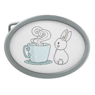 Bunny with a Cup of Tea Oval Belt Buckle