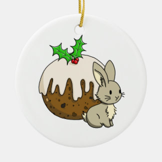 Bunny with a Figgy Pudding Round Ceramic Decoration
