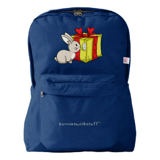Bunny with  a Holiday Gift Backpack