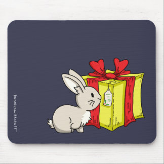 Bunny with a Holiday Gift Mouse Mat