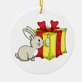 Bunny with a Holiday Gift Round Ceramic Decoration