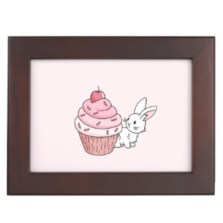 Bunny with a pink cupcake keepsake box