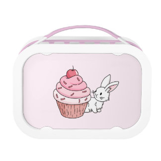 Bunny with a pink cupcake lunch box