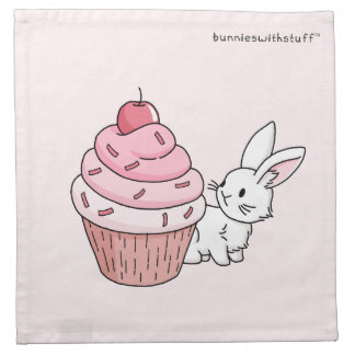 Bunny with a pink cupcake napkin
