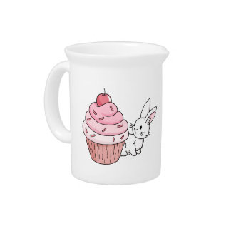 Bunny with a pink cupcake pitcher