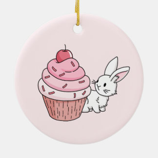 Bunny with a pink cupcake round ceramic decoration