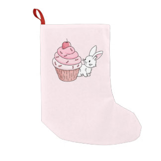 Bunny with a pink cupcake small christmas stocking