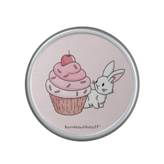 Bunny with a pink cupcake speaker