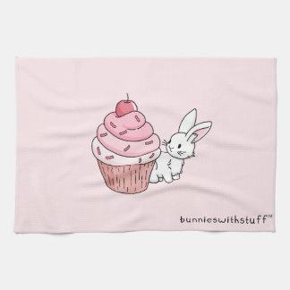 Bunny with a pink cupcake tea towel